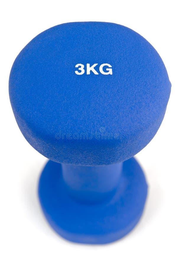3 blått doppat hantelkg gummi royaltyfria foton