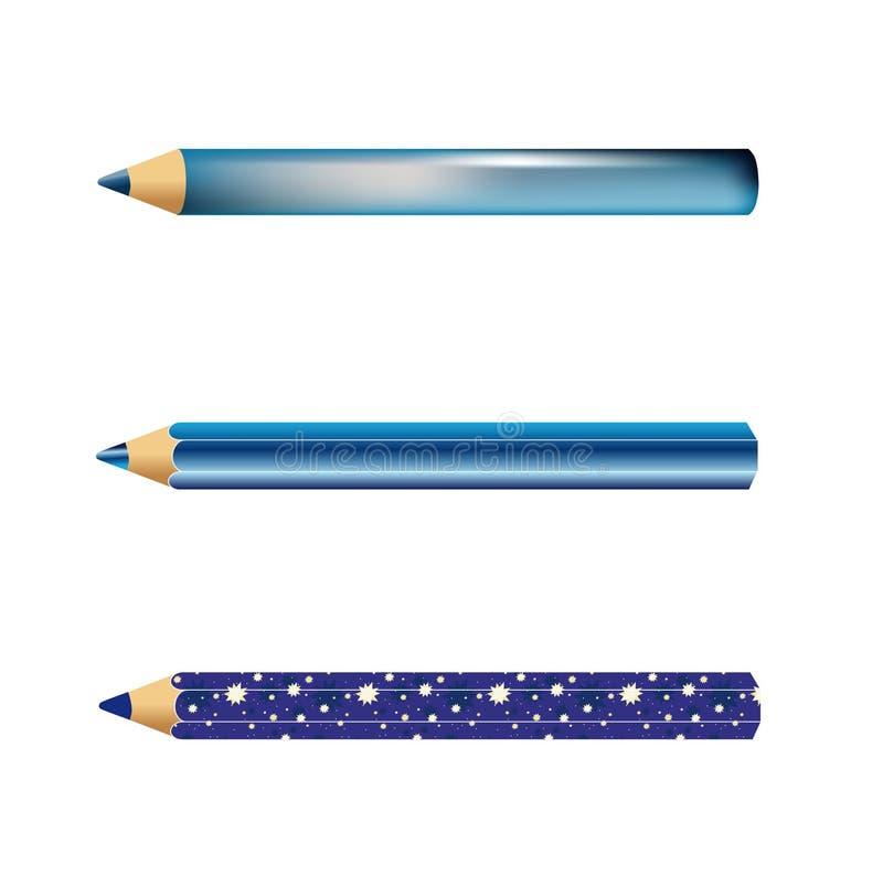 3 blauwe potloden royalty-vrije illustratie