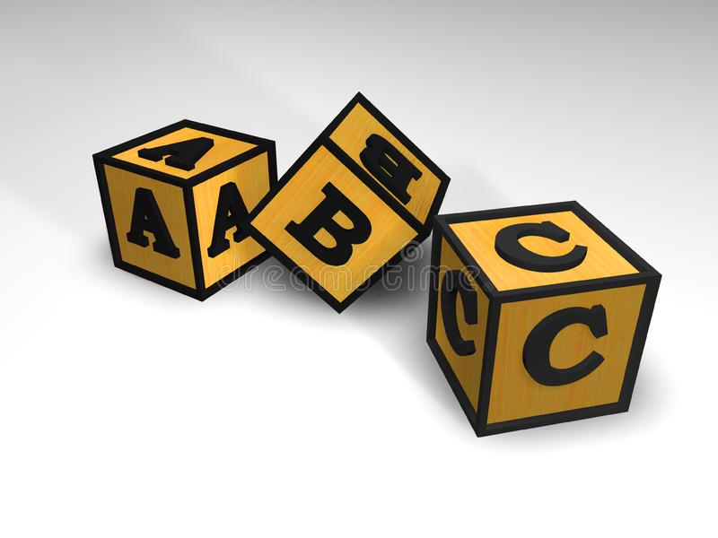 3 blocchetti di ABC illustrazione vettoriale