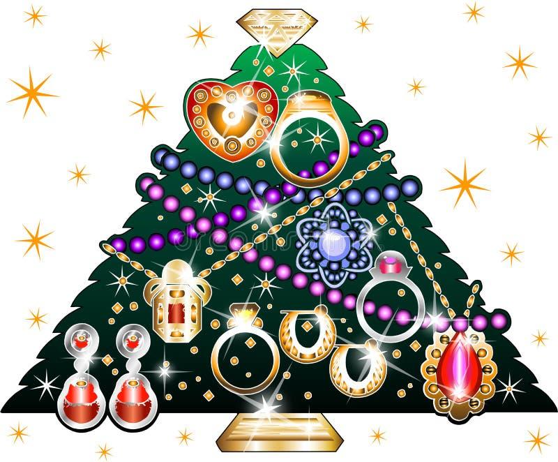 3 bożych narodzeń biżuterii drzewo ilustracji