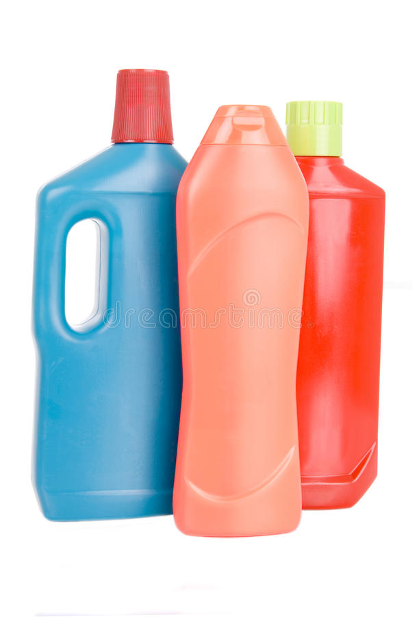 3 bottiglie dei detersivi differenti fotografie stock