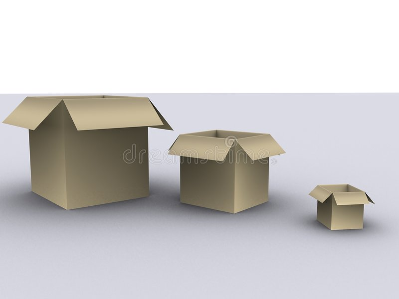 3 boxes stock image