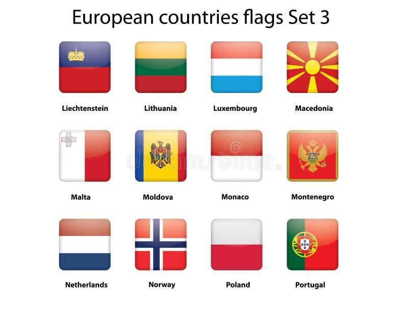 3 buteuropean inställda landsflaggor vektor illustrationer
