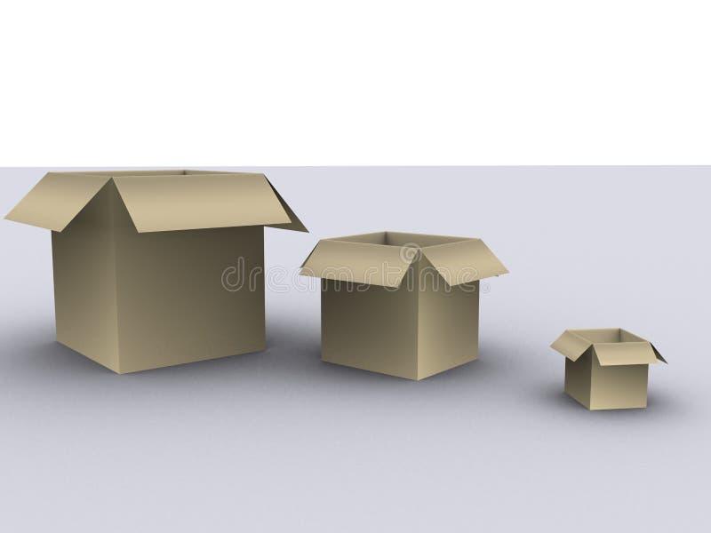 3 caixas imagem de stock