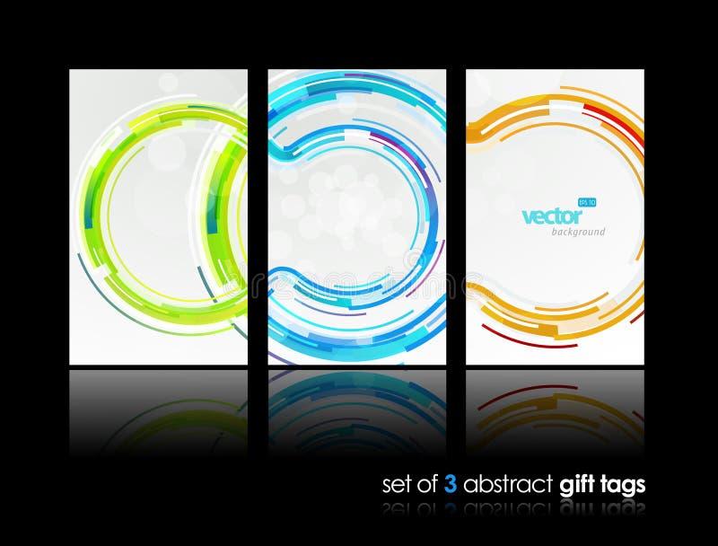 3 cartes abstraites de cadeau avec des cercles. illustration de vecteur