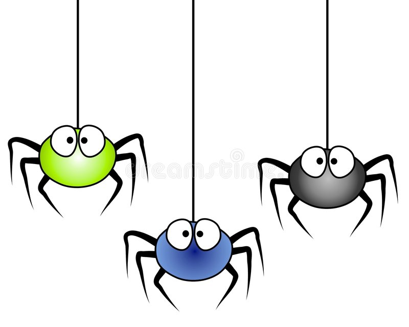 3 Cartoon Spiders Hanging. A clip art illustration of 3 cartoonish looking spiders hanging isolated on white background royalty free illustration