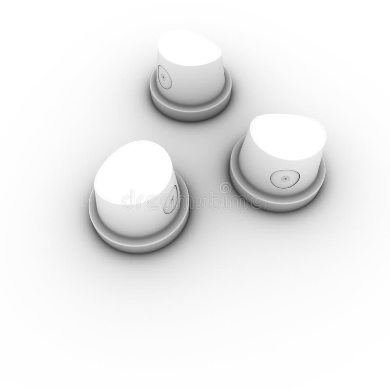 3 casquillos spraycan de la boquilla de la pintada de la poder de aerosol stock de ilustración