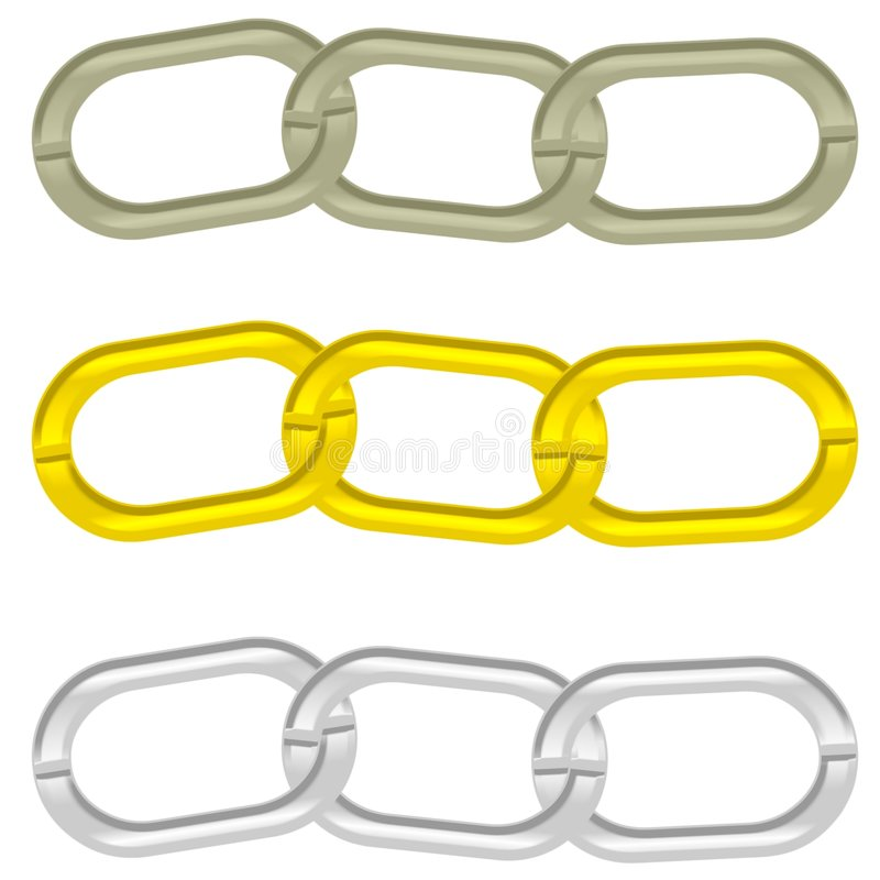 3 chain sammanlänkningar royaltyfri illustrationer
