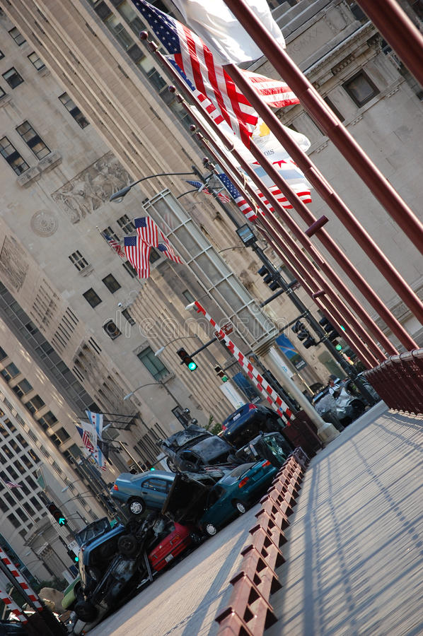3 chicago i stadens centrum filmandetransformatorer arkivfoto