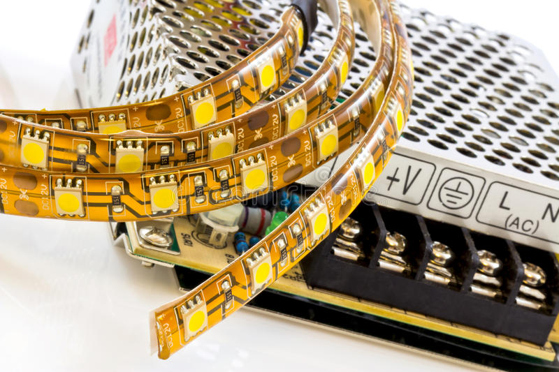3-chip SMD LED strips with power supply stock image