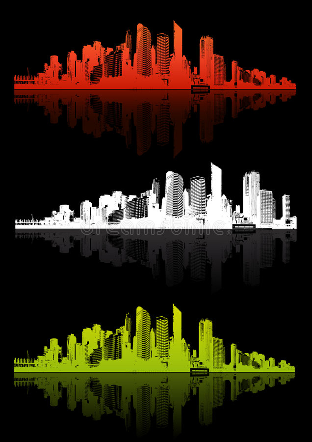 Free 3 Cities With Different Color. Stock Images - 3734334