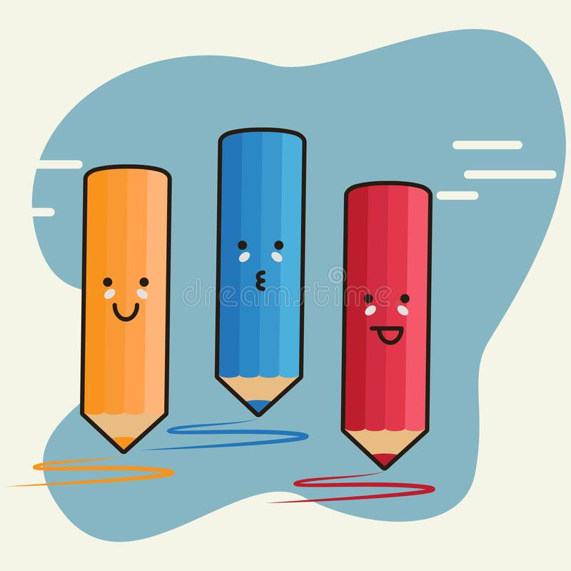 Free 3 Colored Pencils With Cute Emoji Character Vector Royalty Free Stock Photos - 206629268