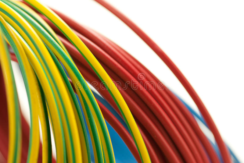 3 colors copper cables, electrician tool royalty free stock photos