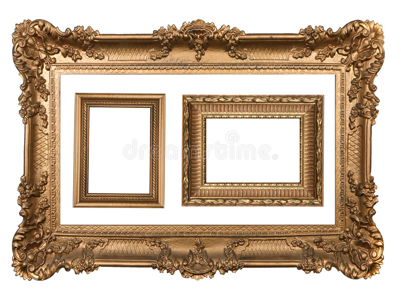 3 cornici vuote della parete dell'oro decorativo immagini stock libere da diritti