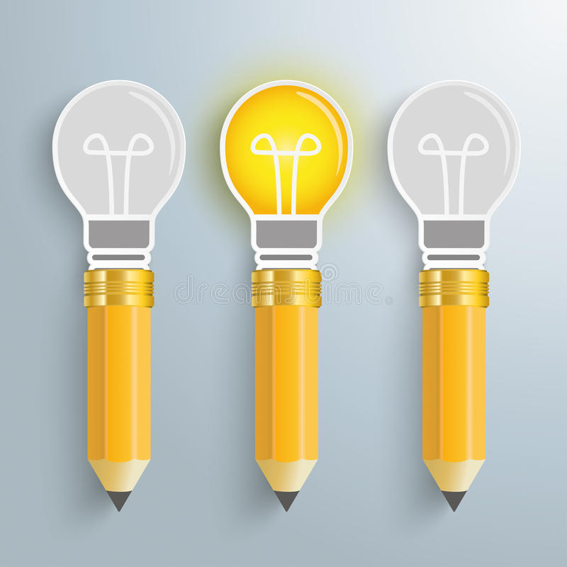 Free 3 Creative Pencil Bulbs Royalty Free Stock Images - 51959649