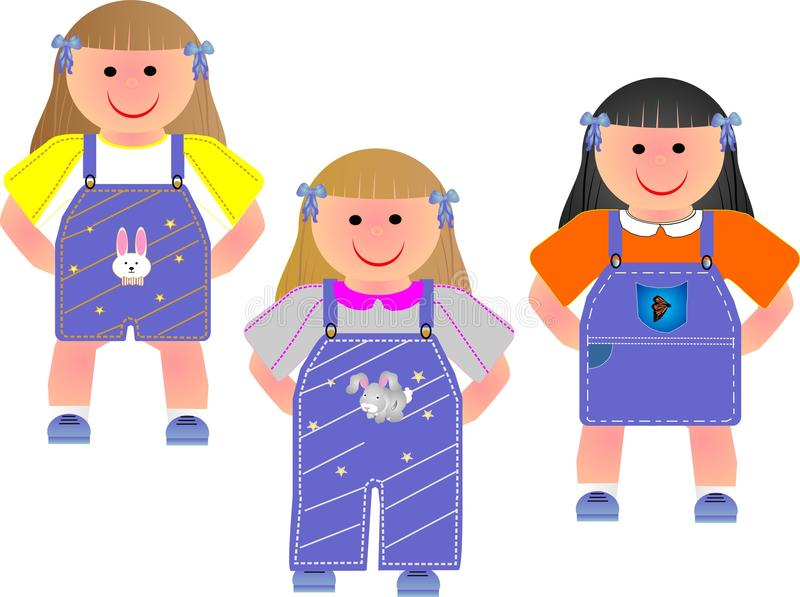 Download 3 Cute Girls In Their Outfits Illustration. Stock Vector - Image: 13294937