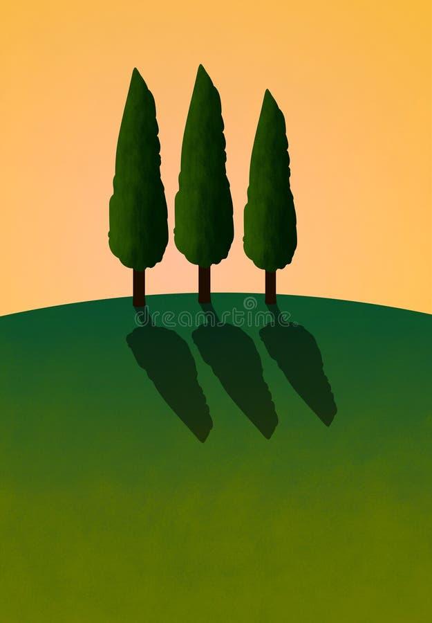 3 cyprysów hill ilustracji
