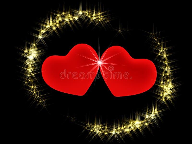 3 d środowiska świeci gwiazdy dwa serca royalty ilustracja