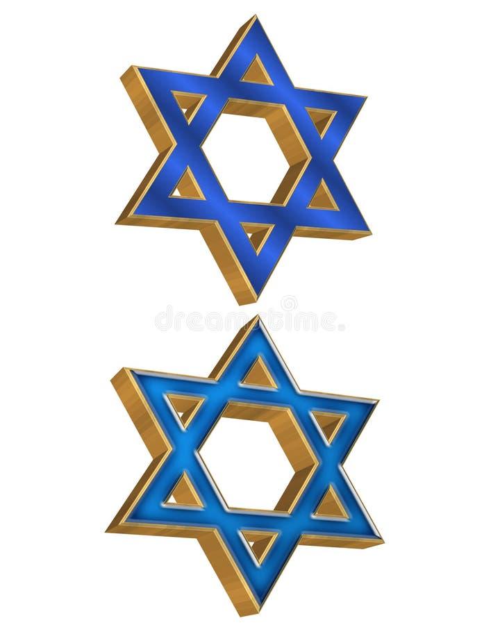 3 d 2 żydowskie stylu gwiazdy ilustracji