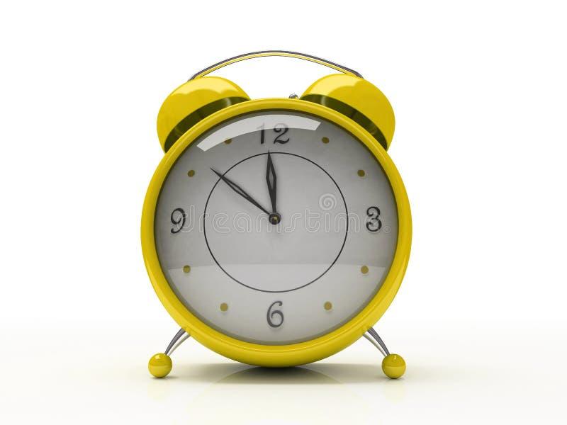 3 d alarmu zegara tła pojedynczy biały żółty ilustracja wektor