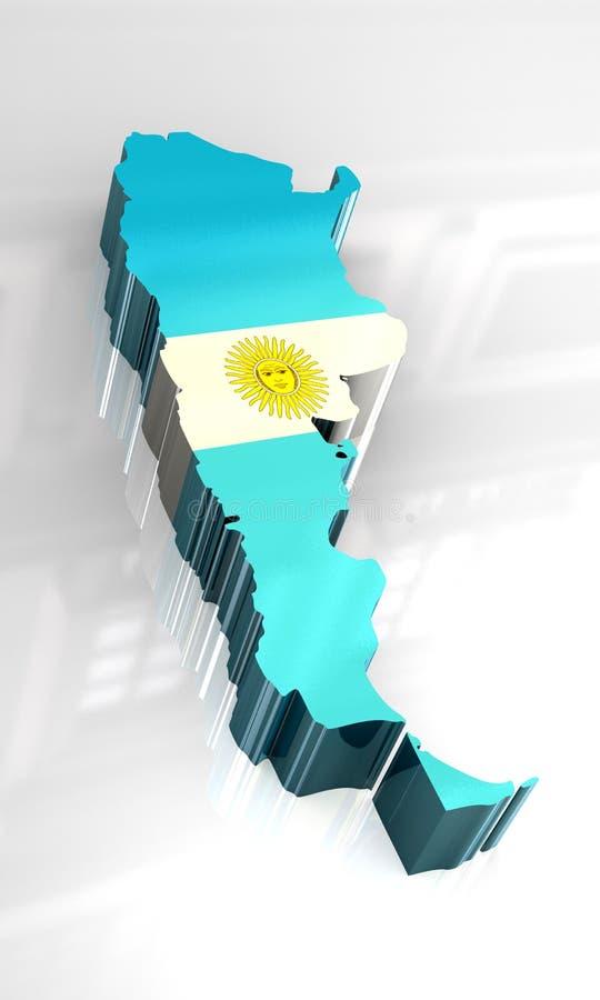 3 d Argentina flagi mapa ilustracji