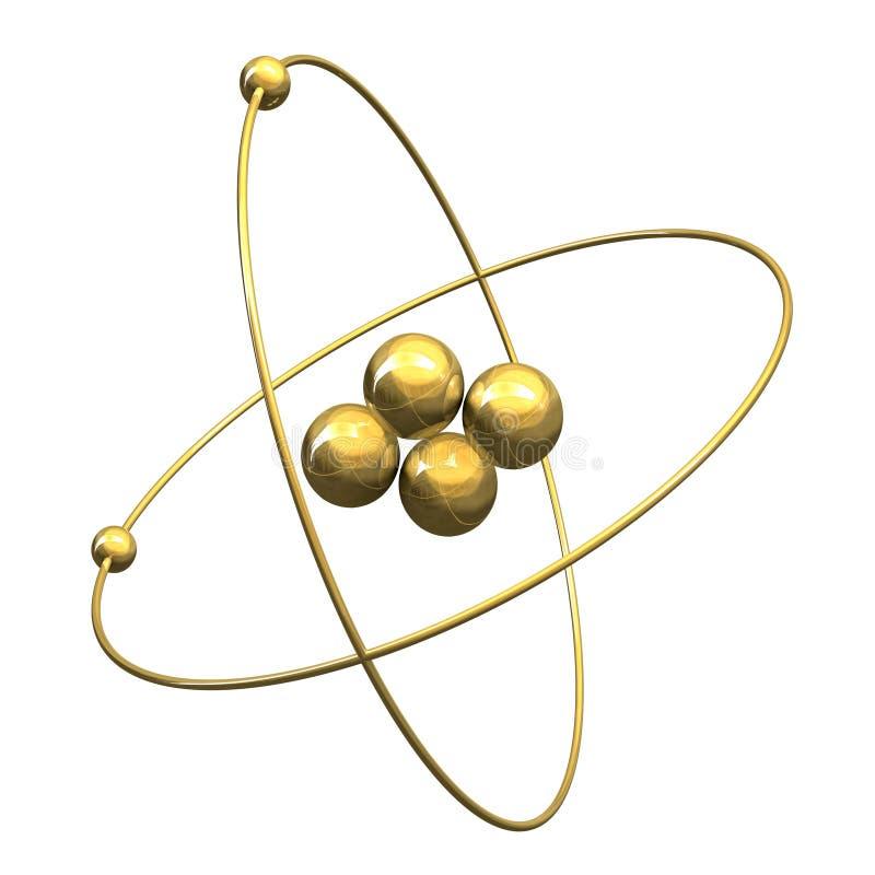 3 d atomy złota helu ilustracja wektor
