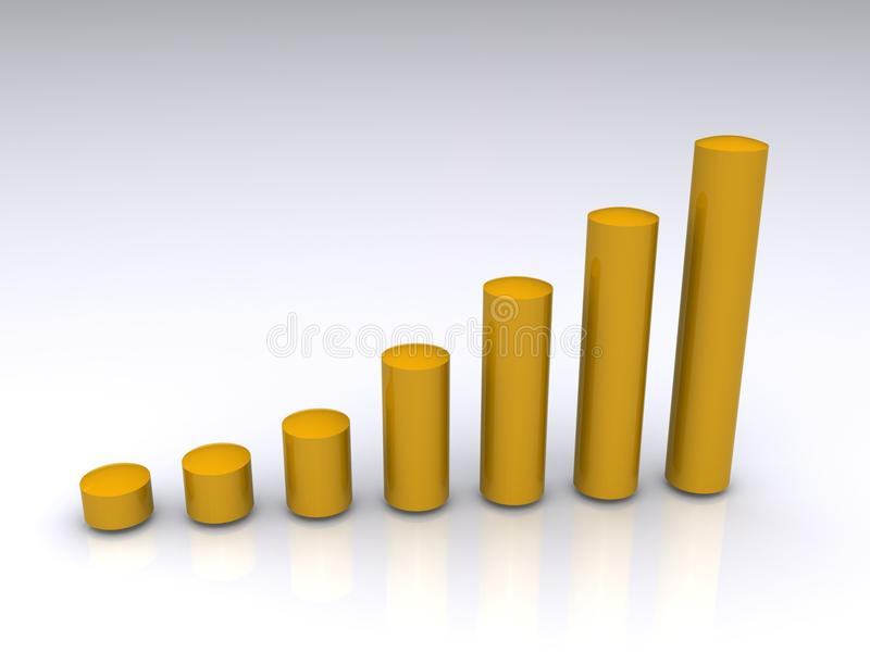 3-D bar graph. A three-dimensional bar graph with golden cylinders or bars rising progressively higher from left to right royalty free illustration
