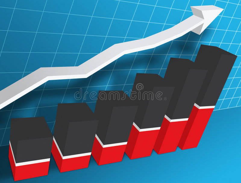 3-d Business Graph vector illustration