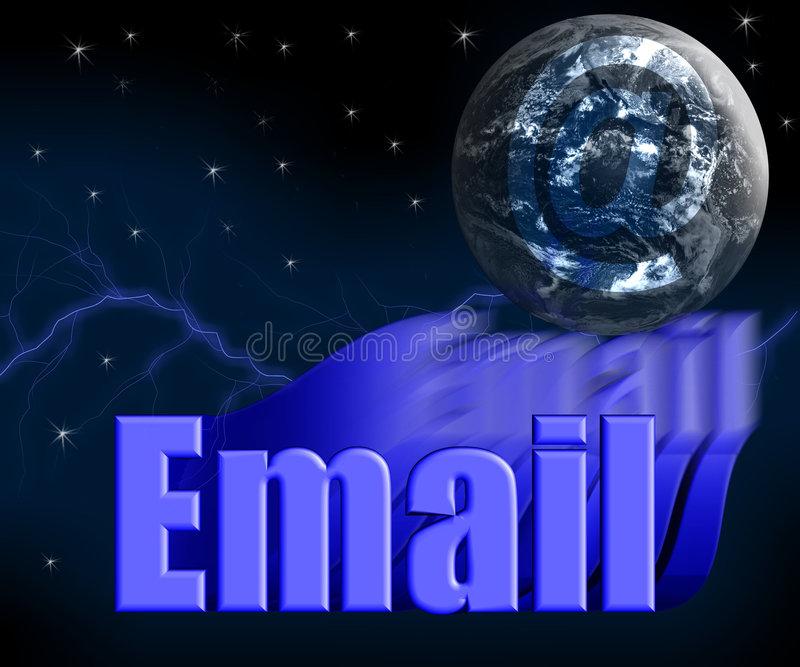 3 d e - mail glob ziemi gwiazd ilustracja wektor