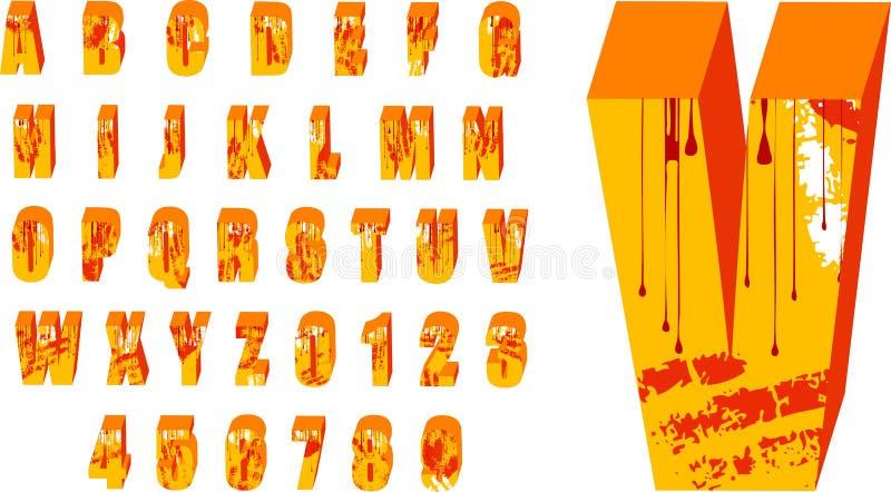 3 d grunge alfabet royalty ilustracja
