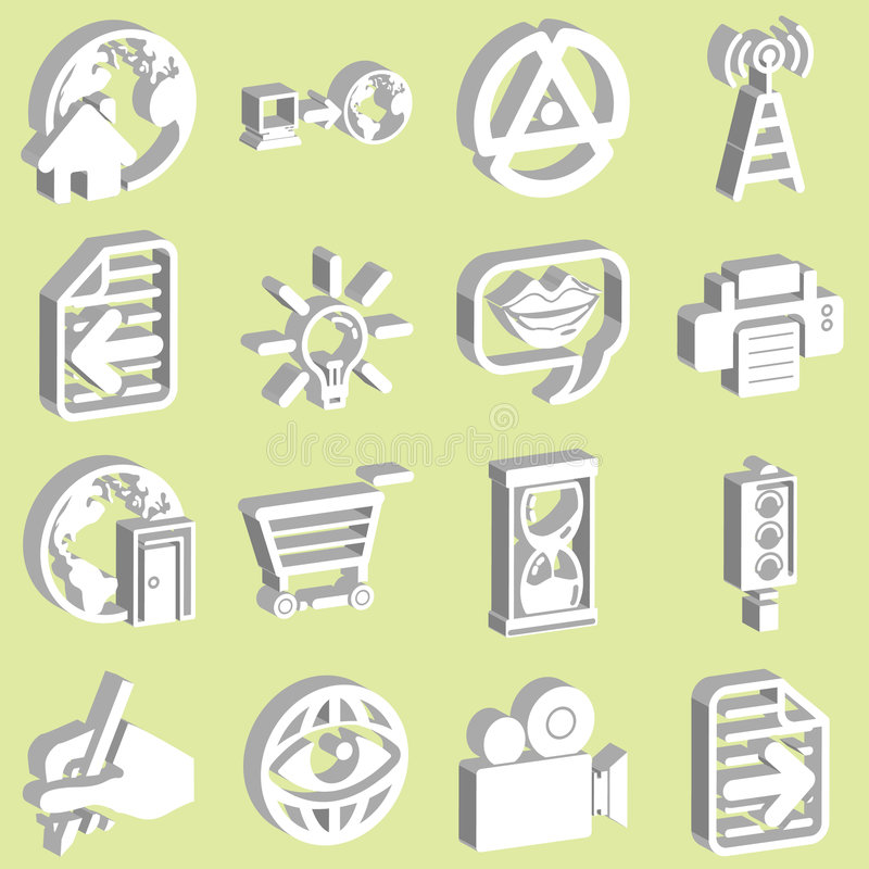 3 d ikon white sieci ilustracja wektor