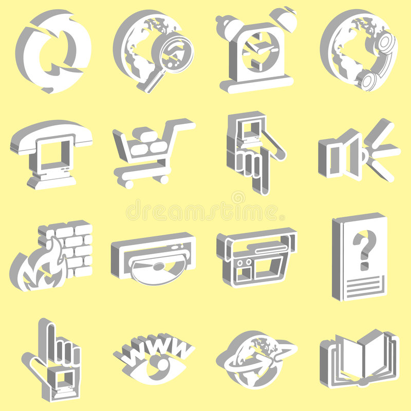 3 d ikon white sieci royalty ilustracja