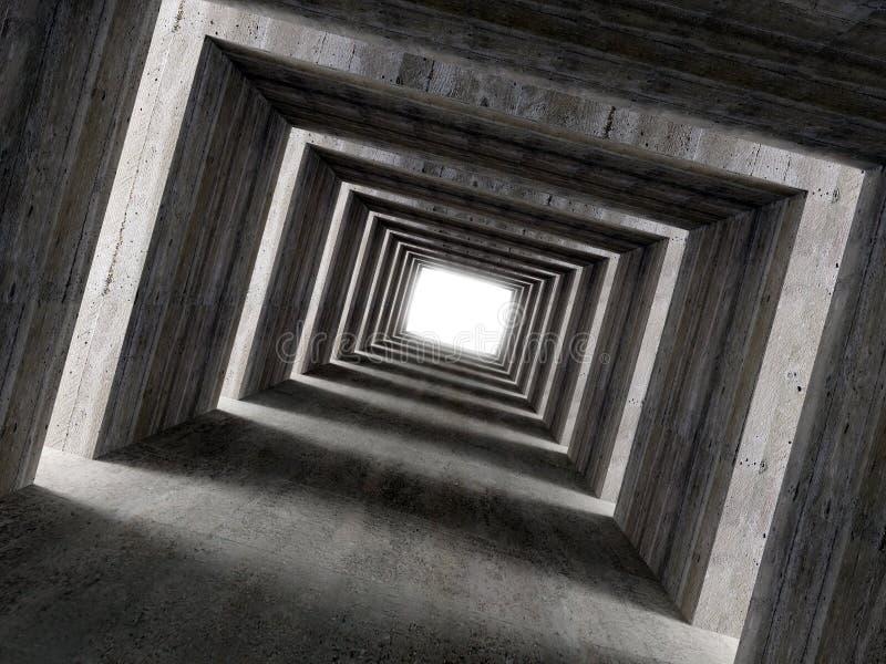 3 d konkretne grzywien boczne światła tunel obrazu zdjęcia stock