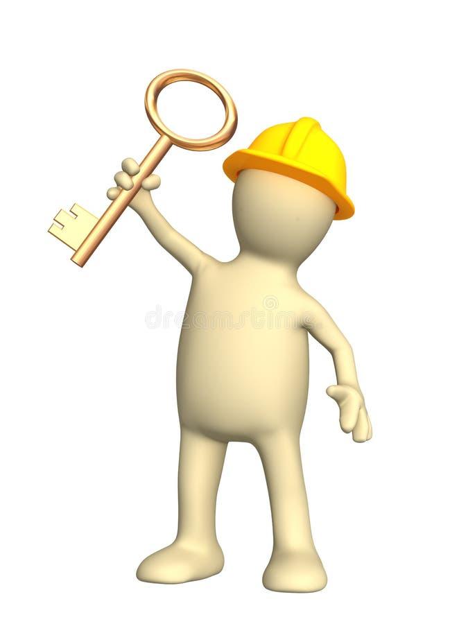 3 d majstra budowlanego dłonie złoty klucz do gospodarstwa ilustracja wektor