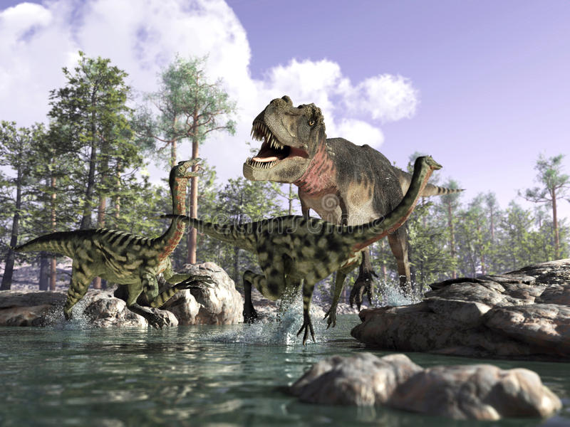 Download 3 D Scene Of A T Rex, Hunting Two Gallimimus. Stock Illustration - Image: 22730156