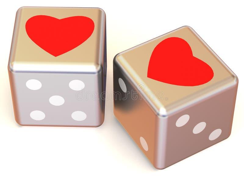 3 d serc kostek miłości ilustracja wektor