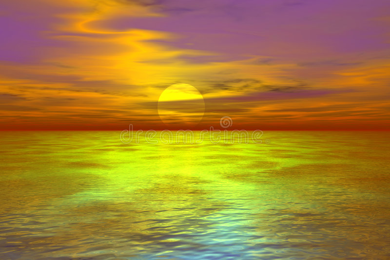 3 d w sunset royalty ilustracja