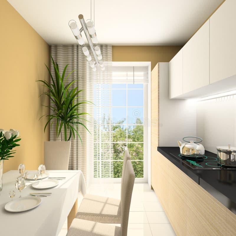 3 d wewnętrznego nowoczesny w kuchni, ilustracji
