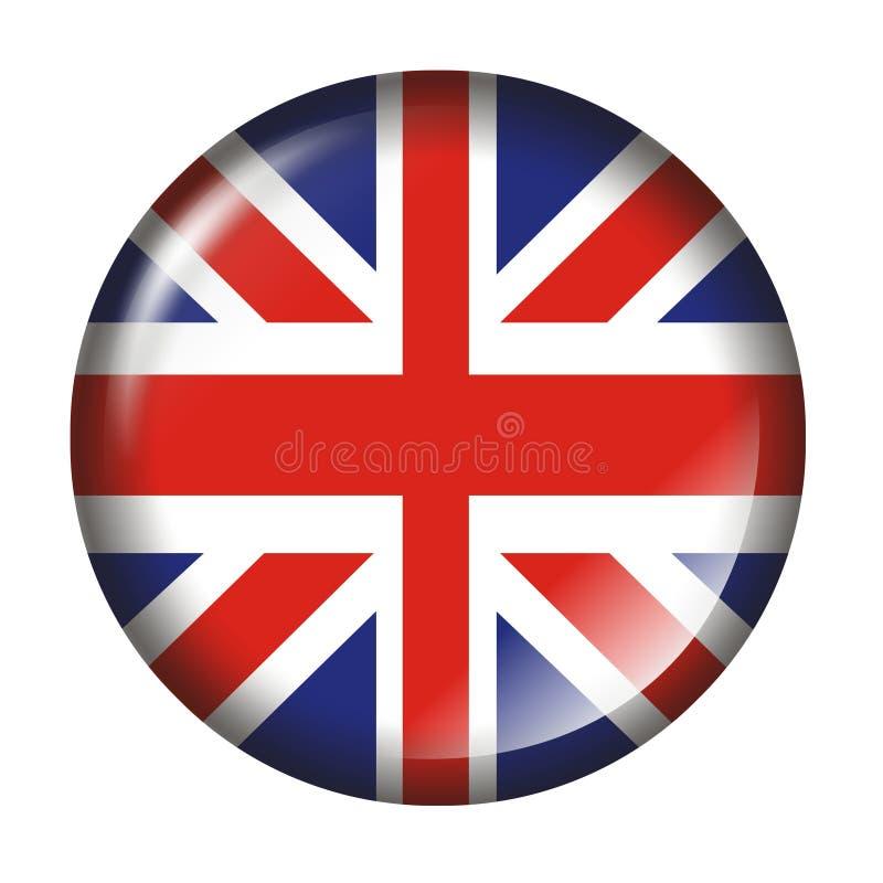 3 d wpływu flagą wielkiej brytanii przycisk ilustracji