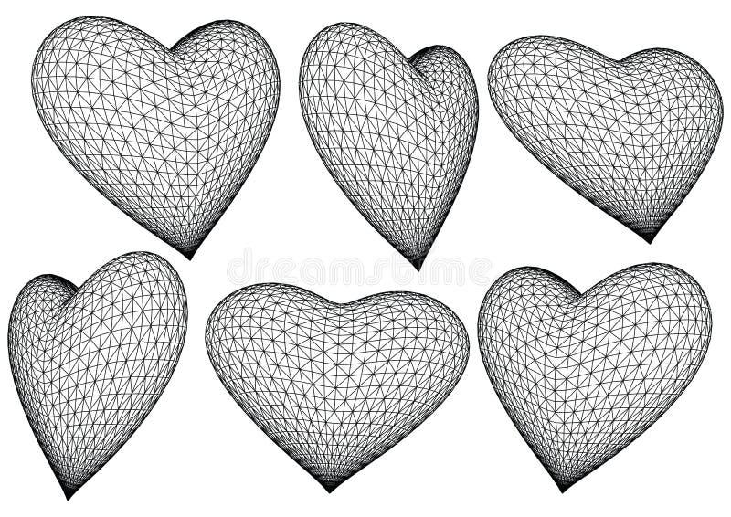 3 d wytopione wektorowymi serca ilustracji