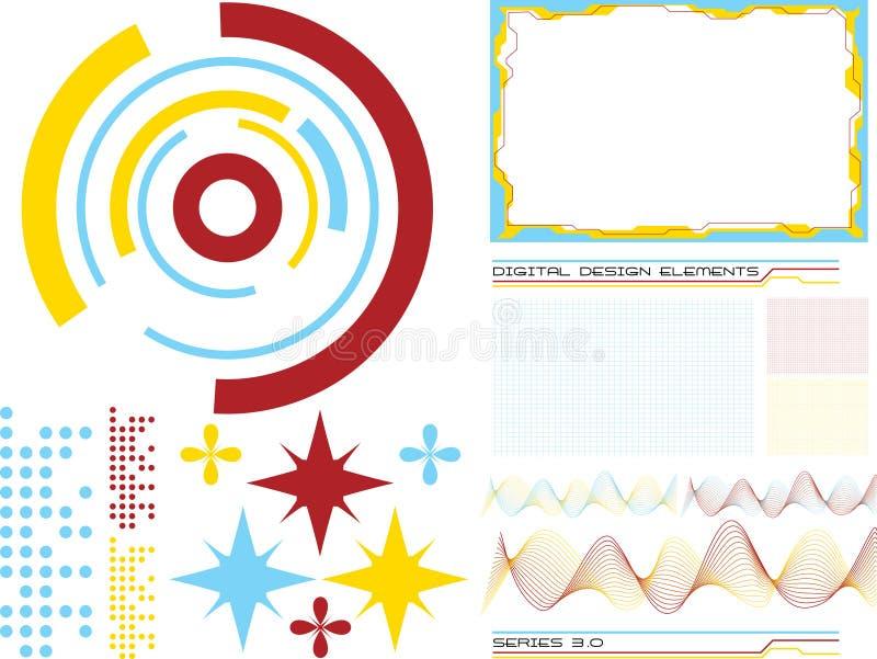 3 designelement royaltyfri illustrationer
