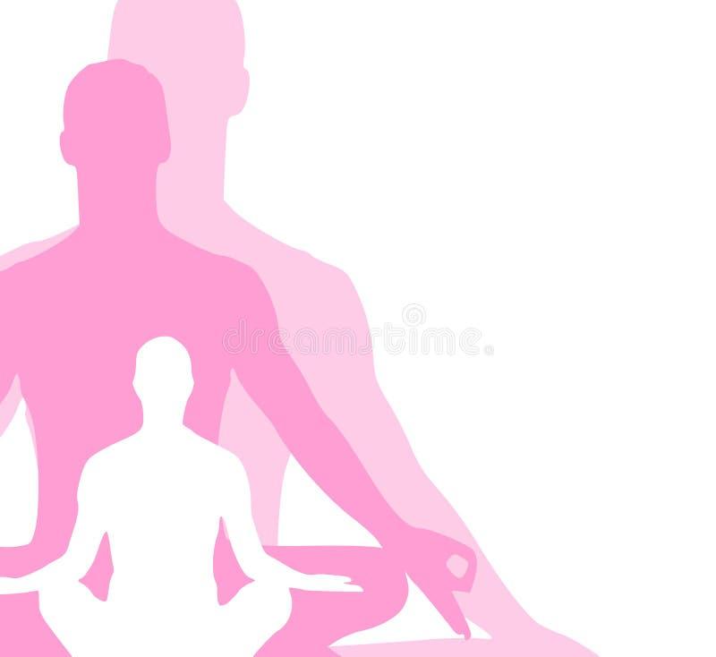3 diagram placerar sittande yoga royaltyfri illustrationer