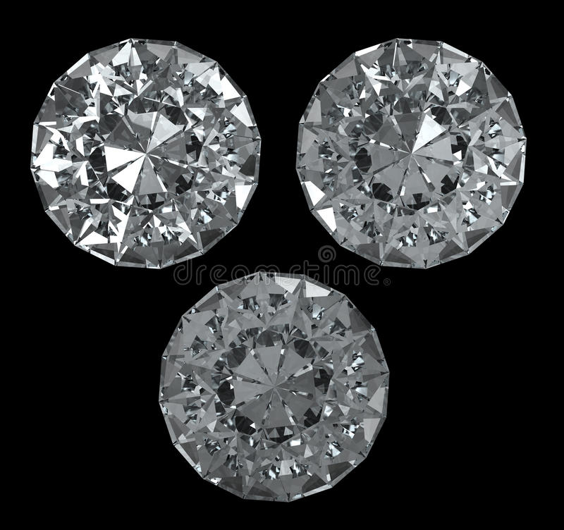3 diamonds with clipping path. Set of diamonds on black BG - with clipping path stock illustration