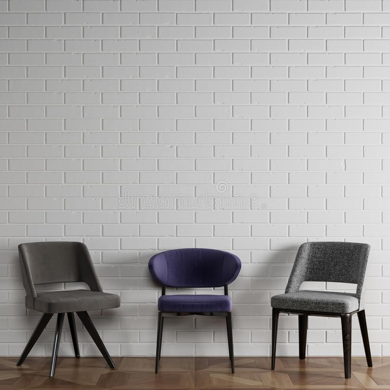 Free 3 Different Chairs In Modern Style Standing In Front Of White Brick Wall With Copy Space Royalty Free Stock Photo - 166182945