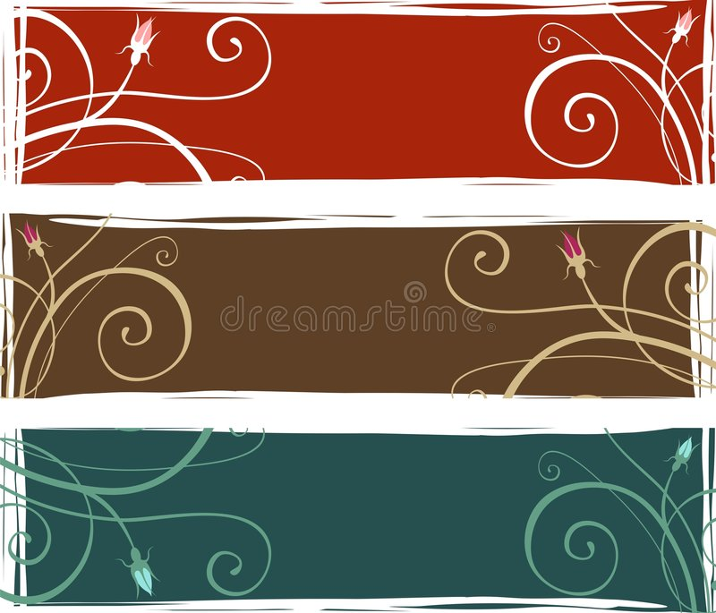 3 drapeaux floraux illustration libre de droits