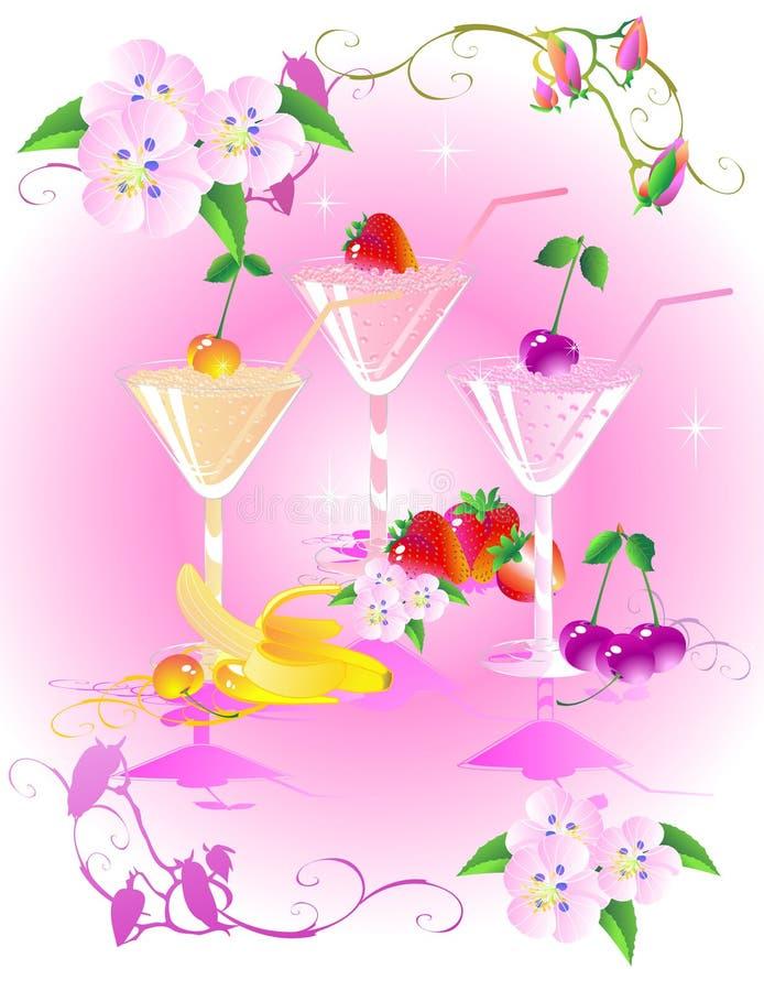 3 drinkar royaltyfri illustrationer