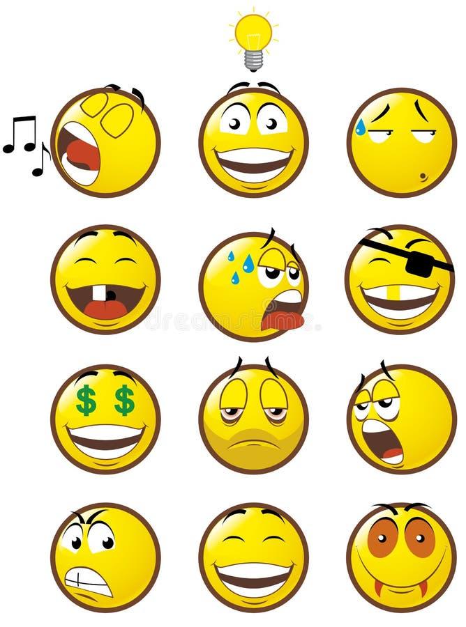 3 emoticons stock illustrationer