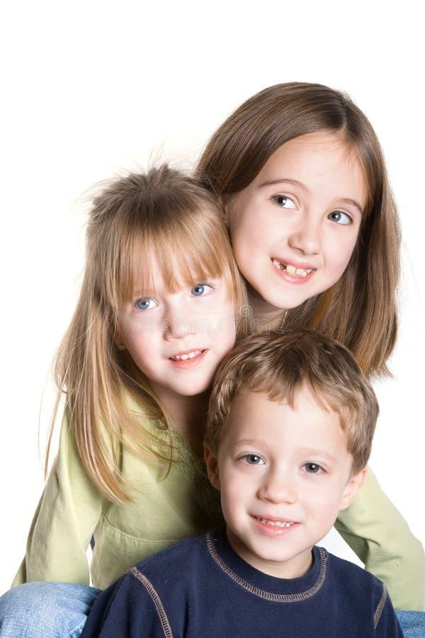 3 enfants de mêmes parents photo stock