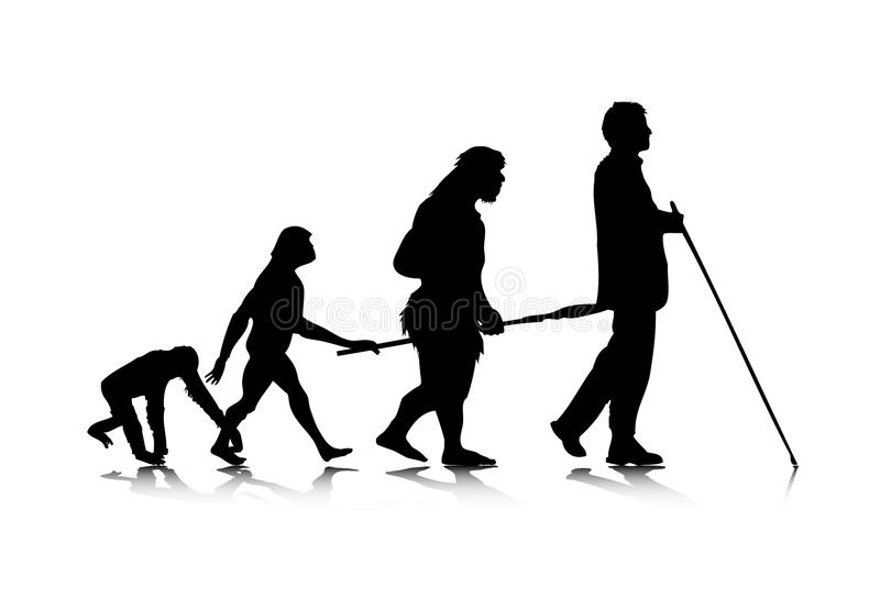 3 ewoluci istota ludzka royalty ilustracja