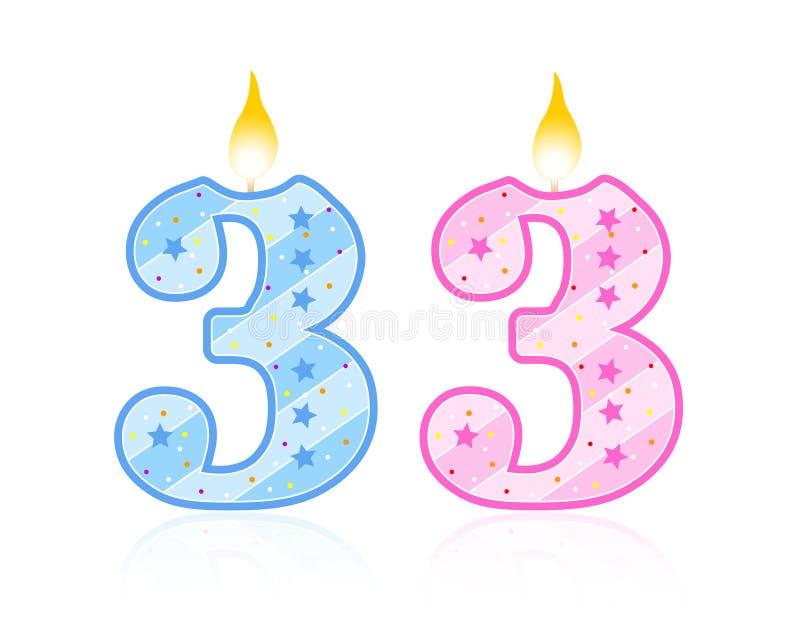 3 födelsedag stearinljus royaltyfri illustrationer